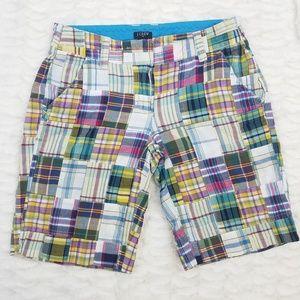 J. Crew City Fit Plaid Patchwork Shorts